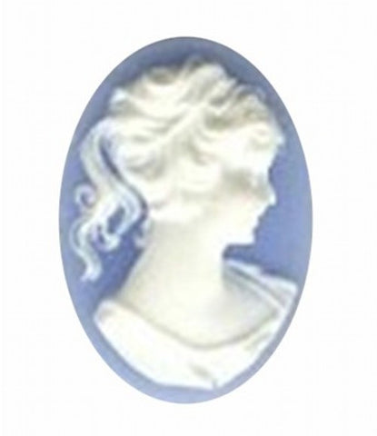 25x18mm blue and white ponytail girl resin cameo 46R