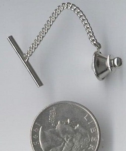 Silver Tie Tack Clutch with Bar and Chain Pin Backing 486q