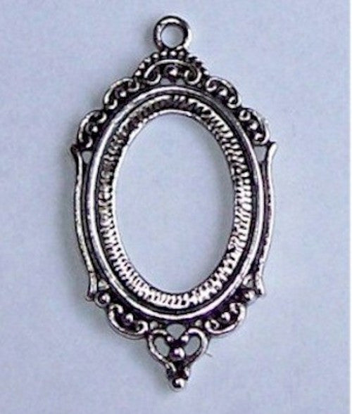 Antique Silver 25x18mm Open Back Cabochon Setting with Ring Item 490x