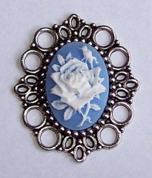 Antique Silver 25x18mm Cabochon Setting NO PIN 494x