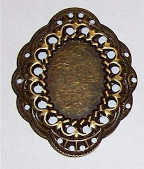 Antique Bronze 25x18mm Cabochon Setting 506x