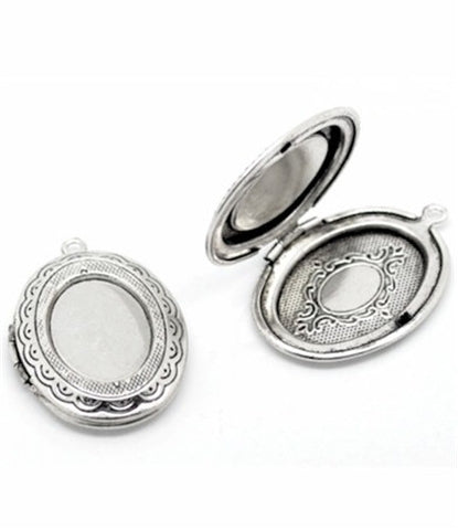 Antique Silver Empty Locket with 18x13mm Tray for Cameo or Stone #514x