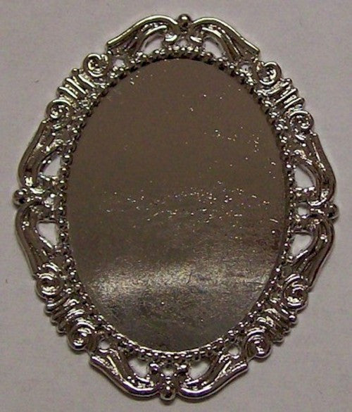 Cameo Setting Bright Silver Finish 40x30mm Tray no pin  517x