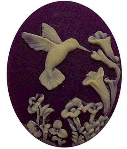Purple Hummingbird Resin Cameo 40x30 523x