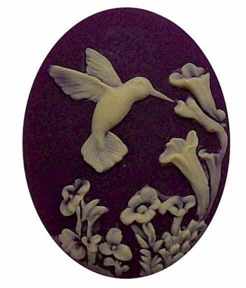 Purple Hummingbird Resin Cameo 25x18mm 525x