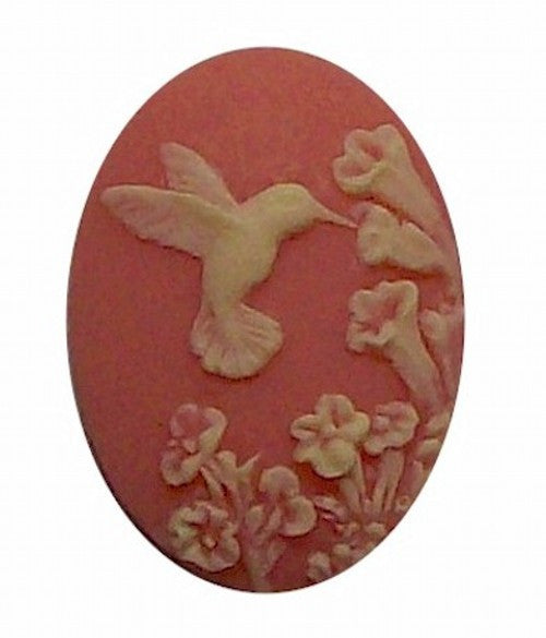 Pink and White Hummingbird Resin Cameo 25x18mm 526x