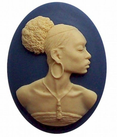 African American Black Woman Resin 40x30mm Cameo Blue and Ivory 545x