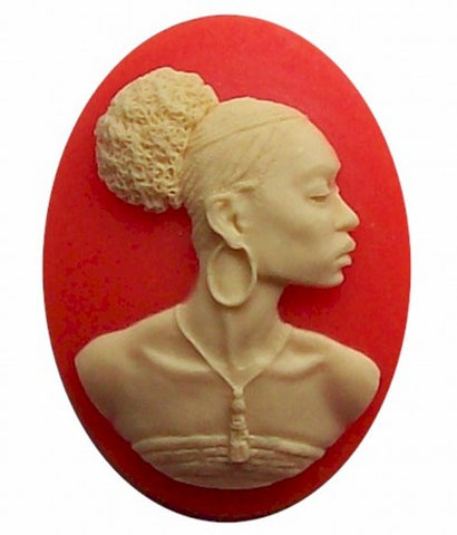 African American 40x30mm Cameo Black Lady Resin Cameo Orange and Ivory 546x