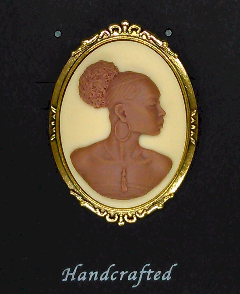 African American Woman Gold Brooch Pin Brown and Ivory African Jewelry Cameo Pin 548x748x