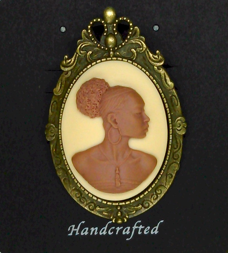 African American Woman Antique Bronze Brooch Pin Pendant Brown Creme African Jewelry 548x787x