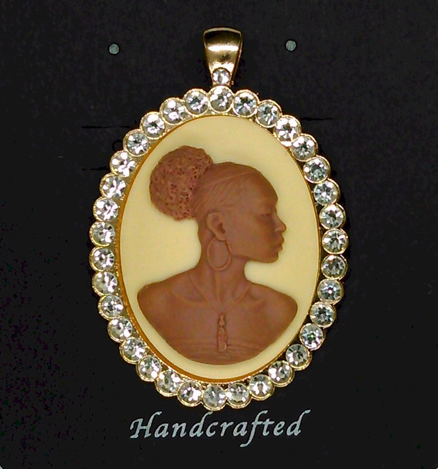 African American Woman Gold Rhinestone Pendant Ivory Brown African Jewelry Cameo Pendant 548x918x