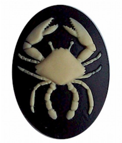 40x30 Resin Zodiac Cameo Cancer the Crab Black and Ivory 553x