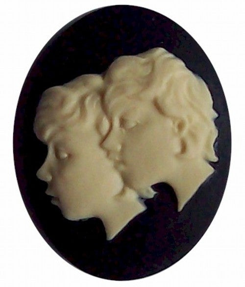 40x30mm Resin Zodiac Cameo Gemini the twins Black and Ivory 558x