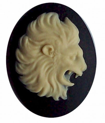 40x30 Resin Zodiac Cameo Leo the Lion Black and Ivory 560x