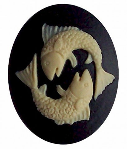 40x30 Resin Zodiac Pisces Cameo Black and Ivory 561x