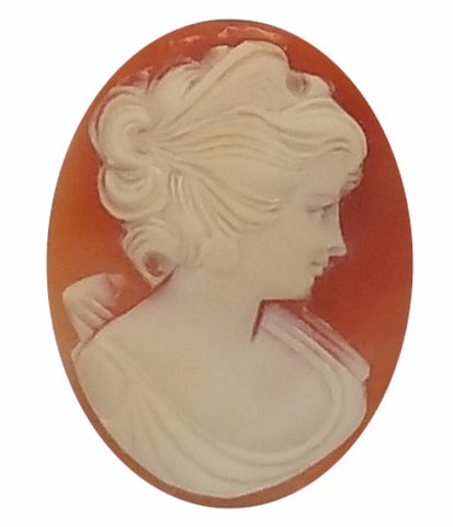 35x27mm Real Carnelian Italian Hand Carved Shell Cameo 565xB