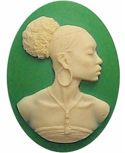 African American Black Woman Resin 40x30mm Cameo Green and Ivory 568x