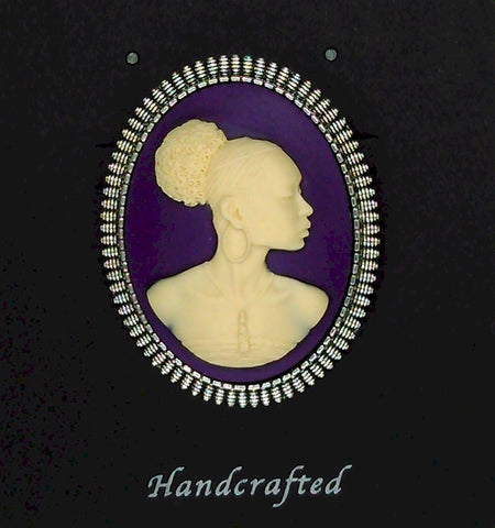 African American Woman Silver Brooch Pin Purple Creme African Jewelry Pin  569x745x