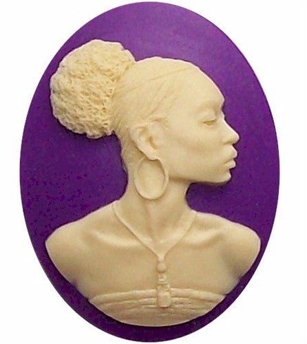 African American Black Woman Resin 40x30mm Cameo Purple and Ivory 569x
