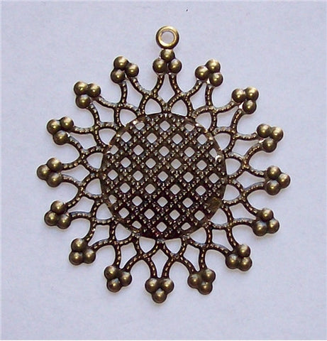 Antique Bronze Round Filigree 50mm 570x