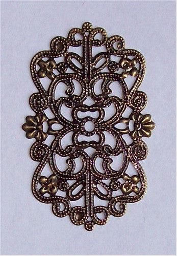 50x32mm Antique Bronze Rectangle Filigree 571x