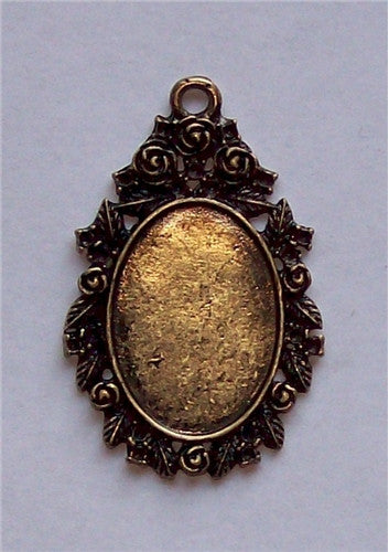 Antique Bronze 25x18mm Flower Cameo Setting with Ring 578x