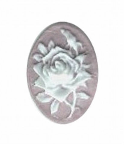 18x13mm lilac and white resin rose cameo 579q