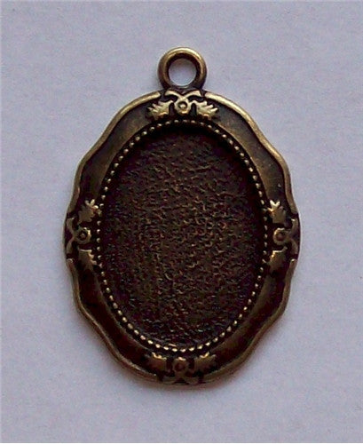 Antique Bronze 25x18mm Cabochon Setting with Ring 579x