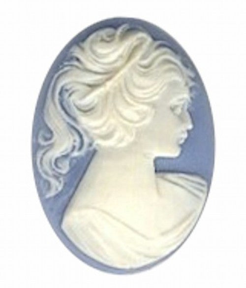 40x30mm Blue and White Ponytail Girl Resin Cameo 57R