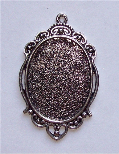 Antique Silver 40x30mm Cameo Cabochon Setting with Ring 580x