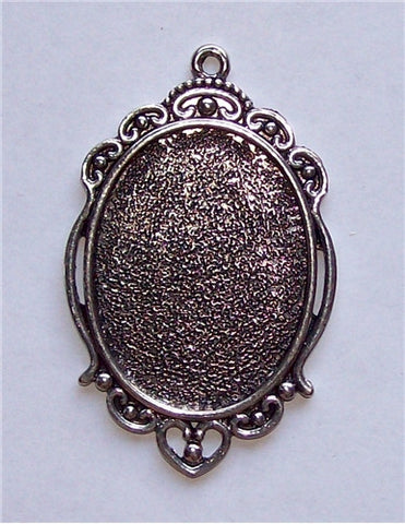 Antique Silver 40x30 Cameo Setting with Ring 580x