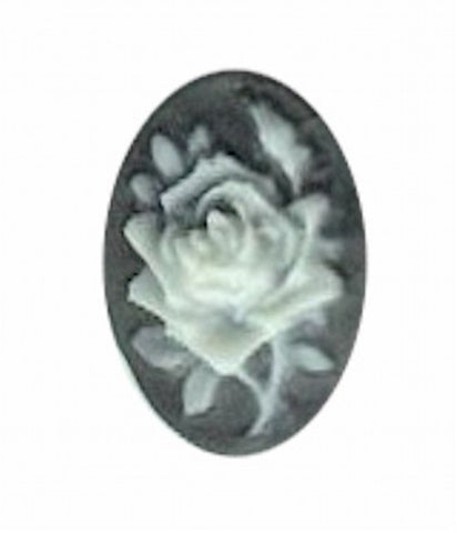 18x13mm black and ivory resin rose cameo 581q
