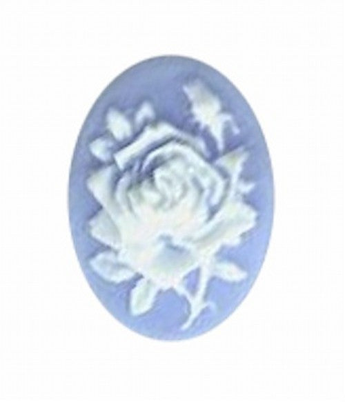 18x13mm blue and white resin rose cameo 582q