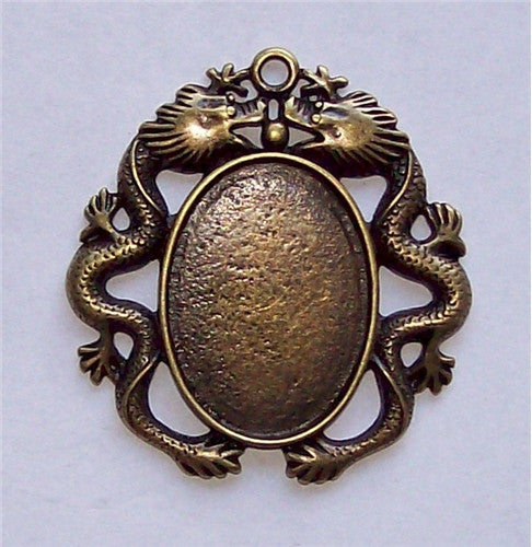 Antique Bronze 25x18mm Dragon Cabochon Setting 582x