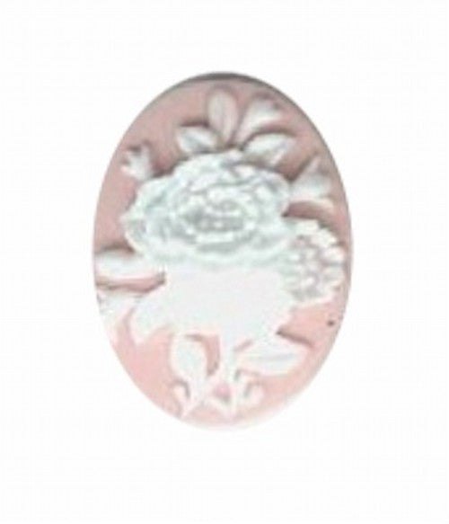 18x13mm pink and white resin flower cameo 583q