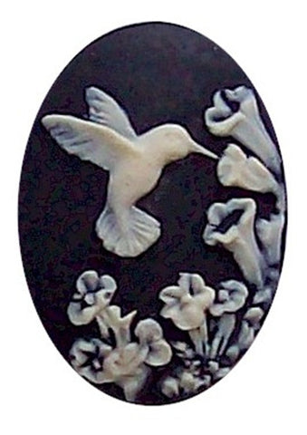 Black and Ivory Hummingbird Resin Cameo 25x18 584x