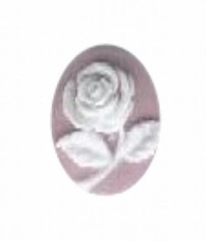 10x8mm Lilac and White Rose Flower Resin Cameo 586q