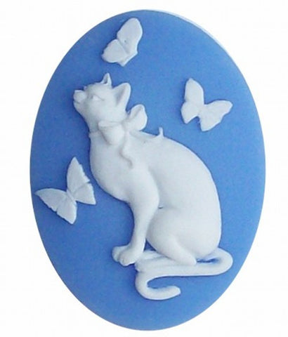 40x30 Resin Cat Cameo with Butterflies Blue and White 605x