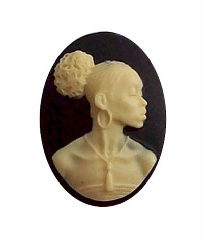 African American Black Woman Resin 25x18 Cameo Black and Ivory 608x