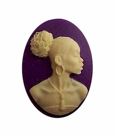 25x18mm Purple and Ivory African American Resin Cameo 611x