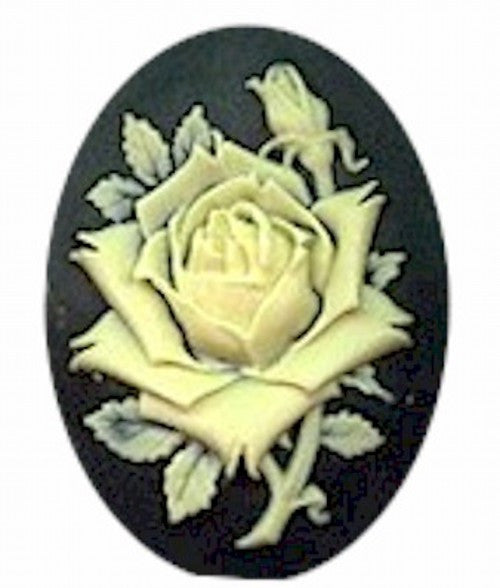 40x30mm Black and Ivory Rose Flower Resin Cameo 613R