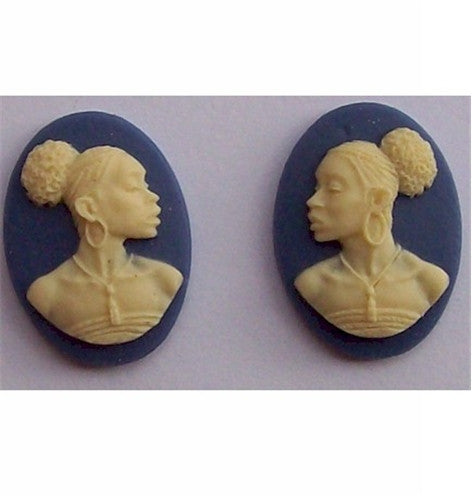 African American Cameo 18x13 Matched Pair Blue and Ivory Resin Cameos 614x