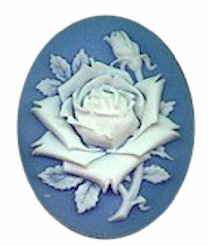 40x30mm Blue and White Rose Flower Resin Cameo 615R