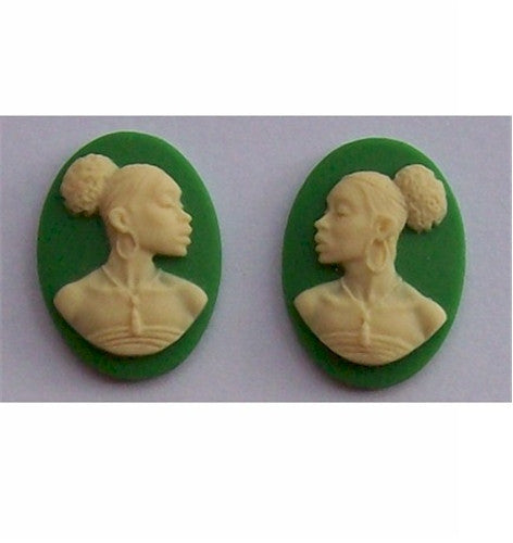 African American Cameo 18x13 Matched Pair Green and Ivory Resin Cameos 616x