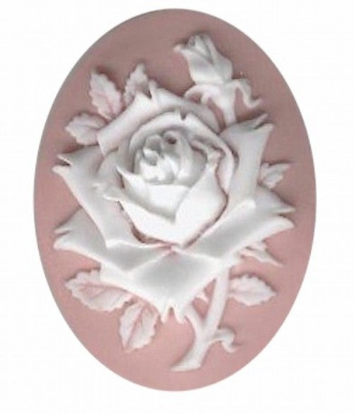 40x30mm Pink and White Rose Flower Resin Cameo 620q