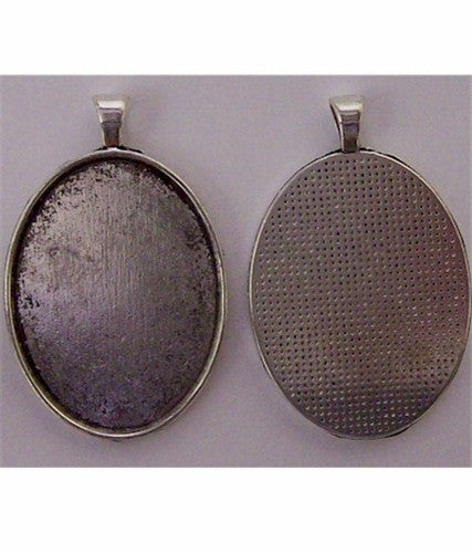 40x30mm Solid Edge Pendant Setting with Bail Antique Silver Finish  621x