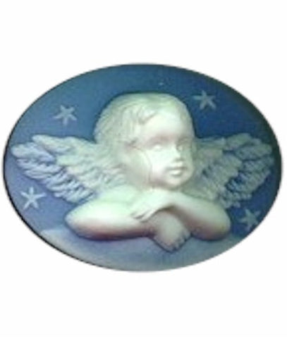 40x30mm Blue and White Cherub Angel Resin Cameo 623R