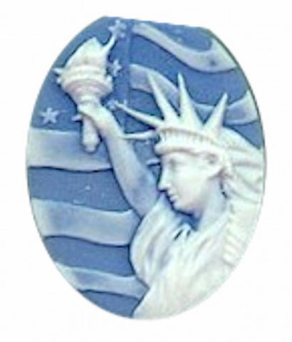 40x30mm statue of liberty cameo Patriotic Cameo Blue and White Resin Cameo 628R