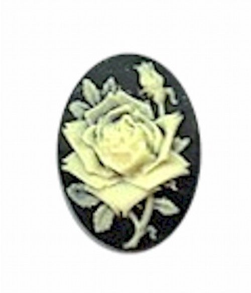 25x18mm black and ivory rose resin cameo 632R