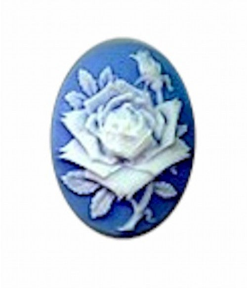25x18mm blue and white resin rose cameo 633R